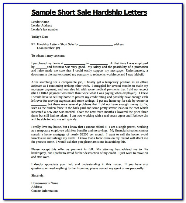 Sample Hardship Letter For Short Sale Relocation