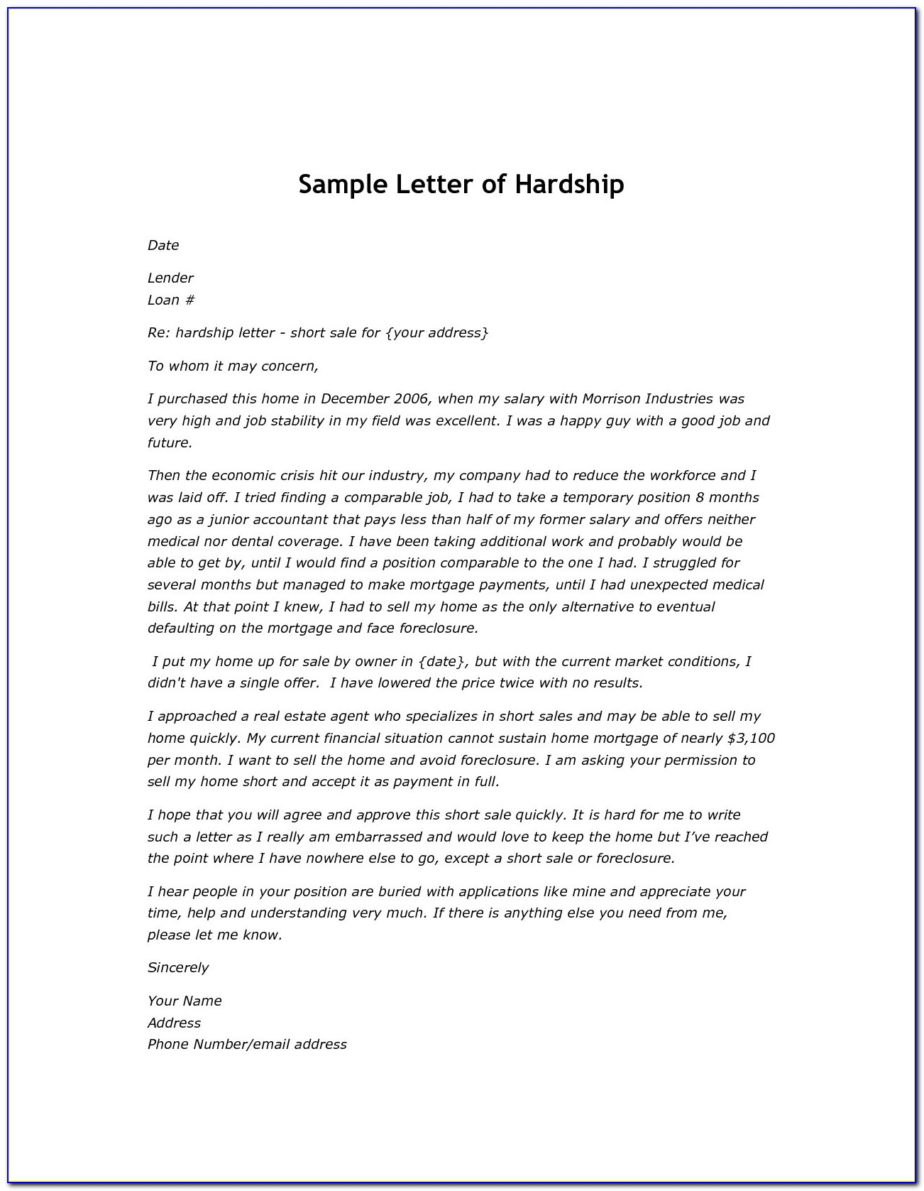 Sample Hardship Letter Requesting Short Sale