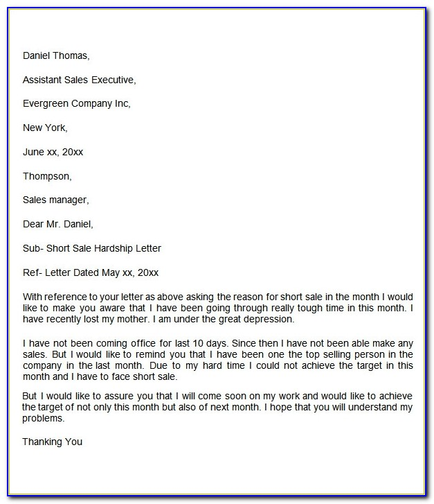 Sample Mortgage Hardship Letter For Short Sale