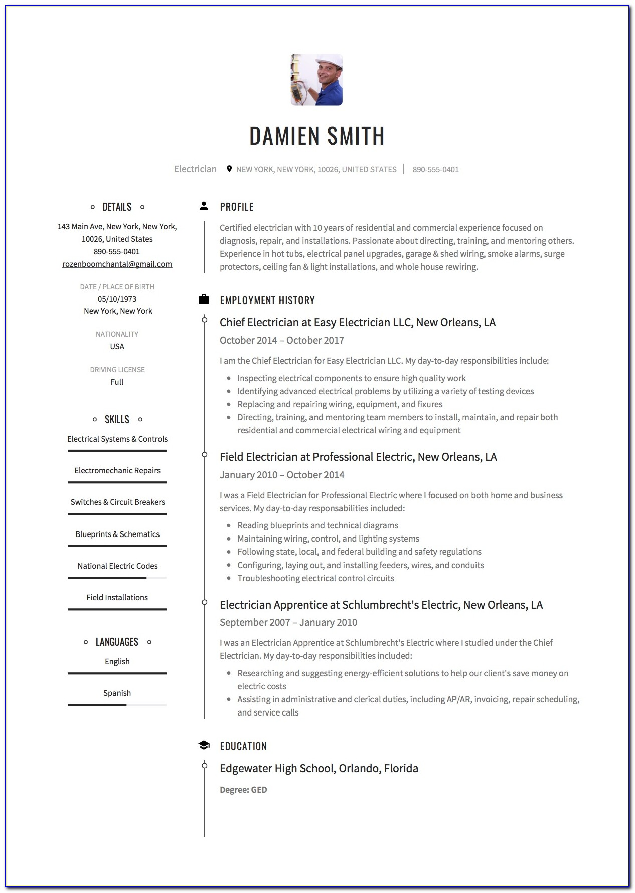 Sample Resume For Electrician Job