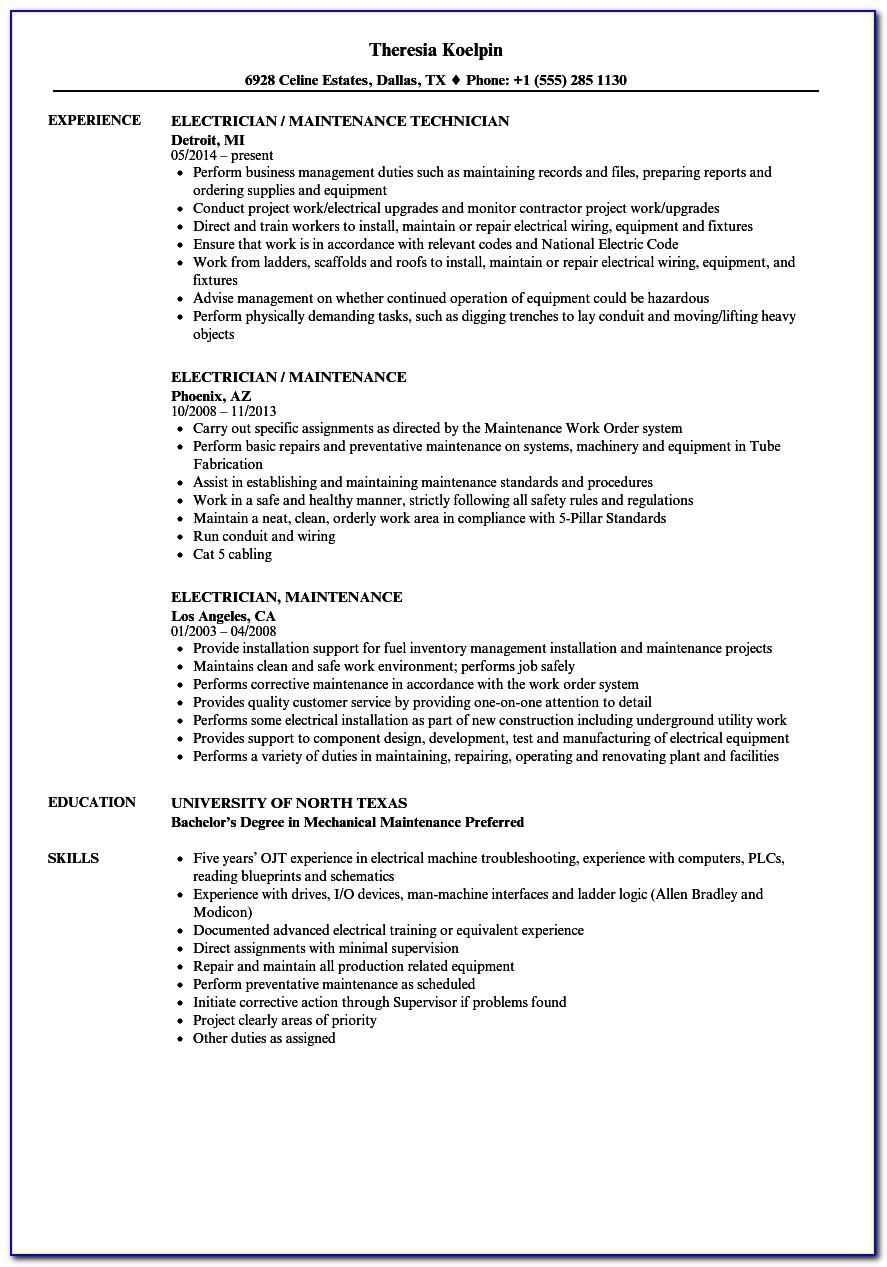 Sample Resume For Professor Position