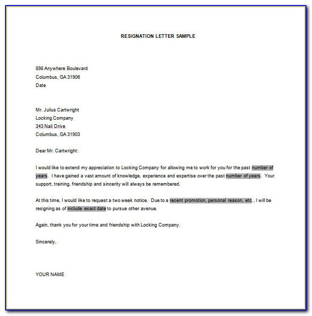 Simple Resignation Letter Format In Word Free Download