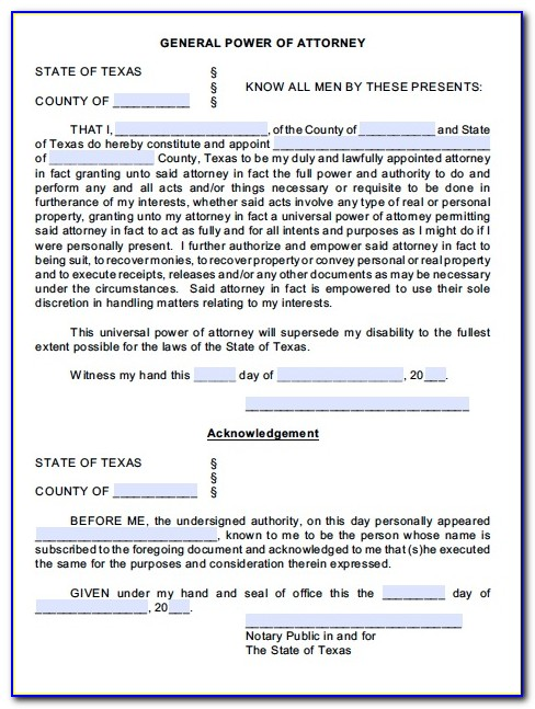 South African General Power Of Attorney Template