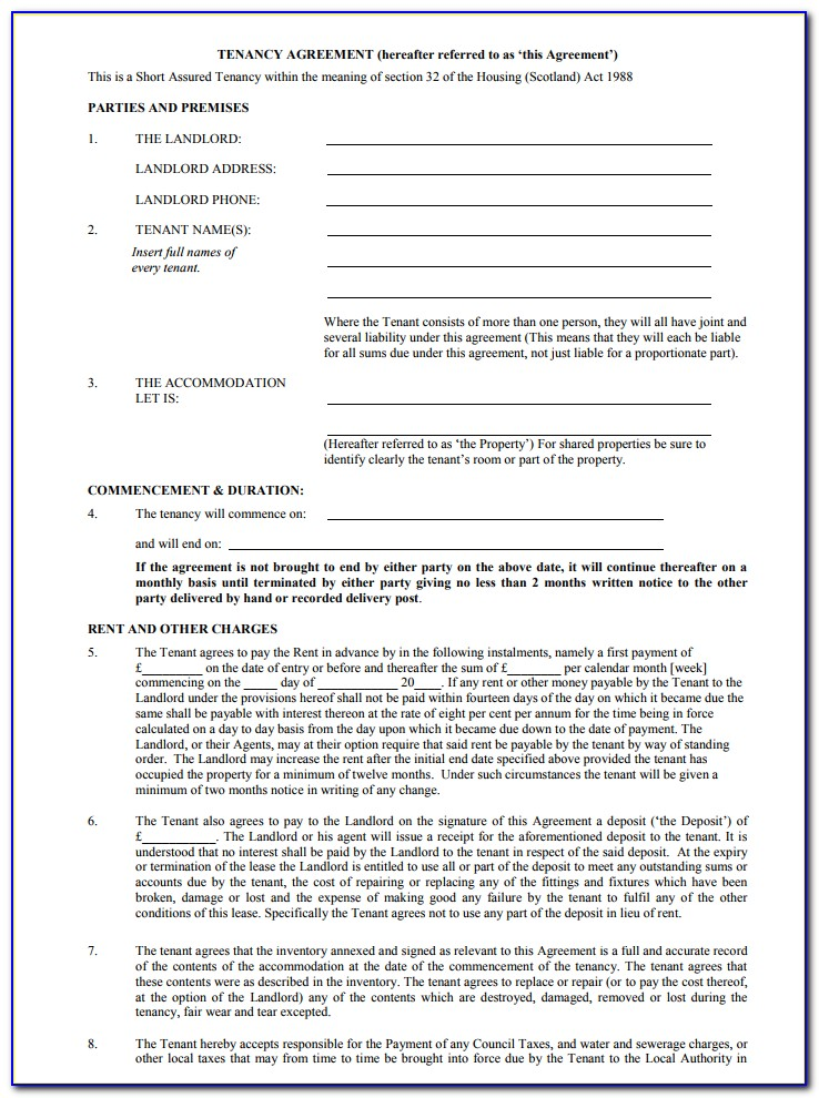 Tenancy Agreement Form Free Download Nz