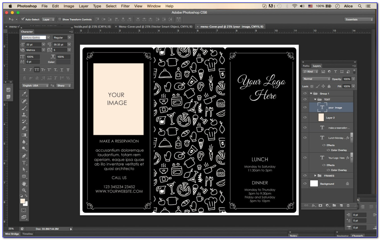Tri Fold Menu Template Word