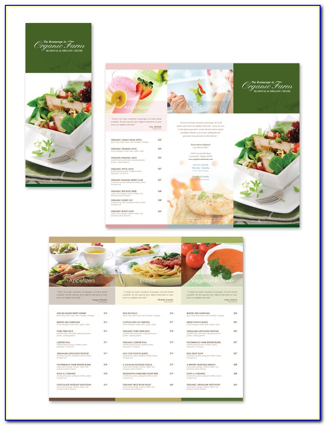 Tri Fold Restaurant Menu Templates