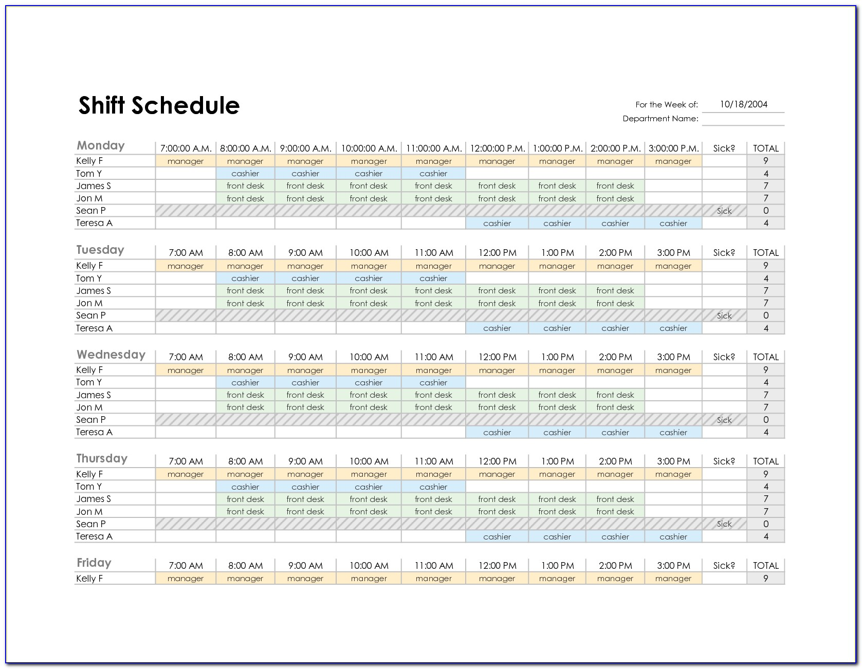 Excel Weekly Employee Schedule Template Free