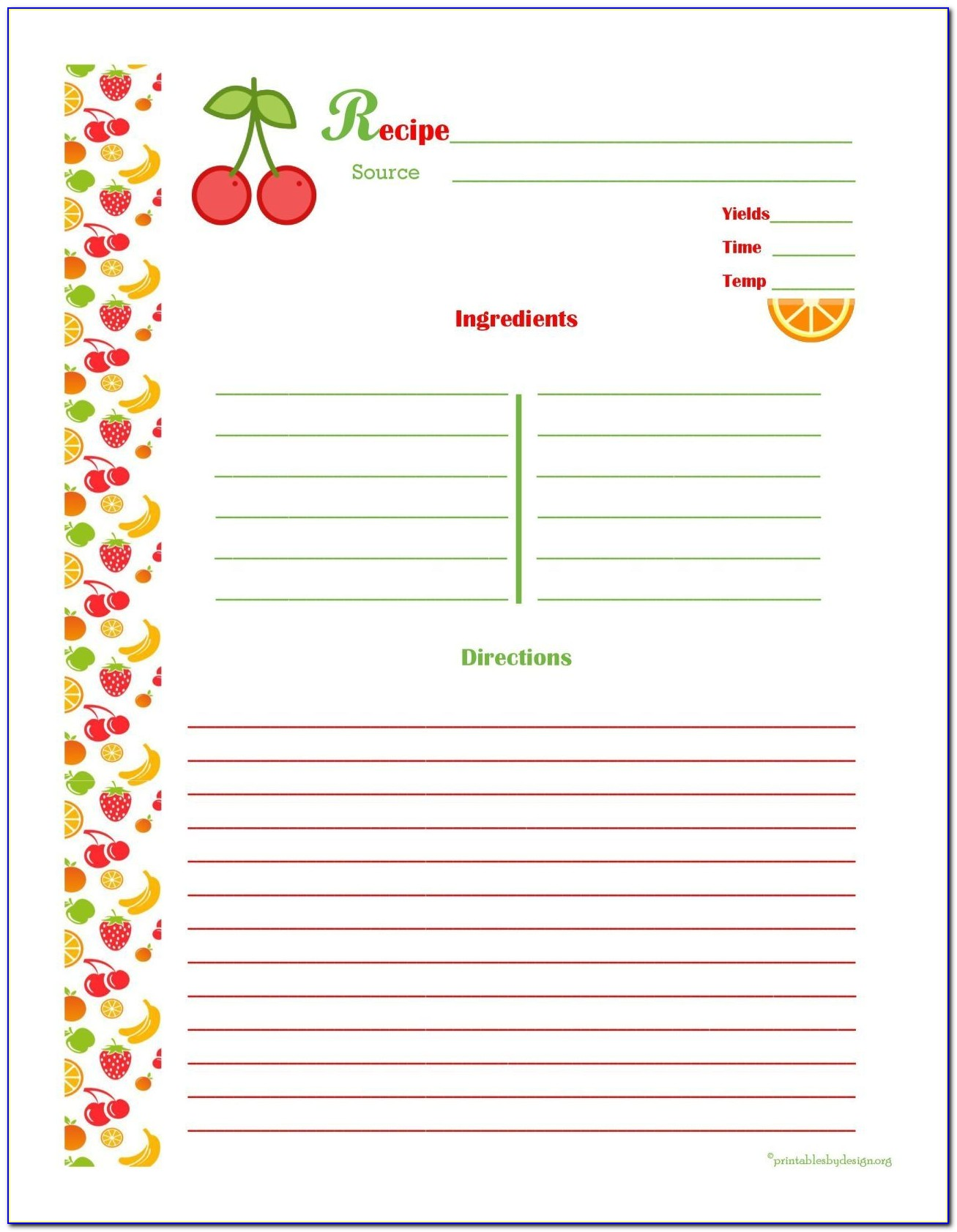 Free 4x6 Recipe Card Templates For Microsoft Word