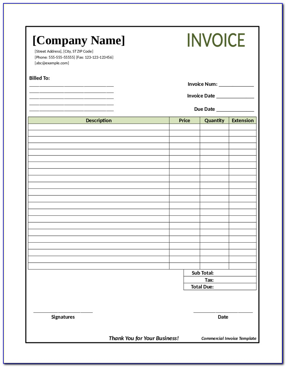 Free Blank Invoice Template Uk