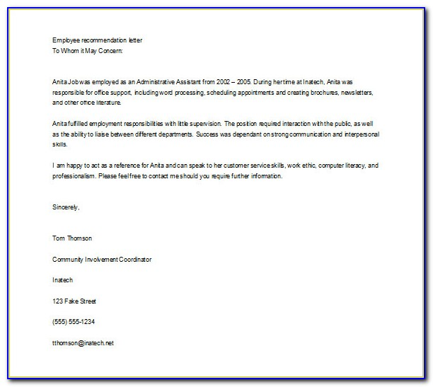 Free Character Letter Of Recommendation Template