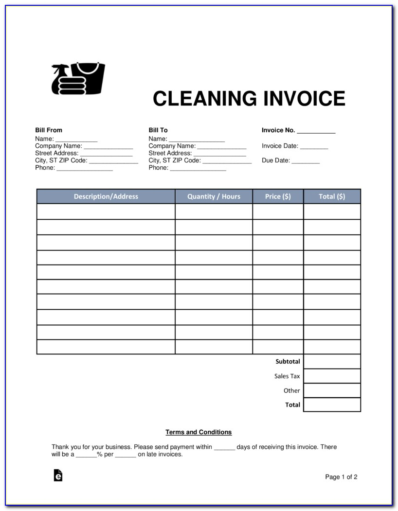 Free Cleaning Company Invoice Template