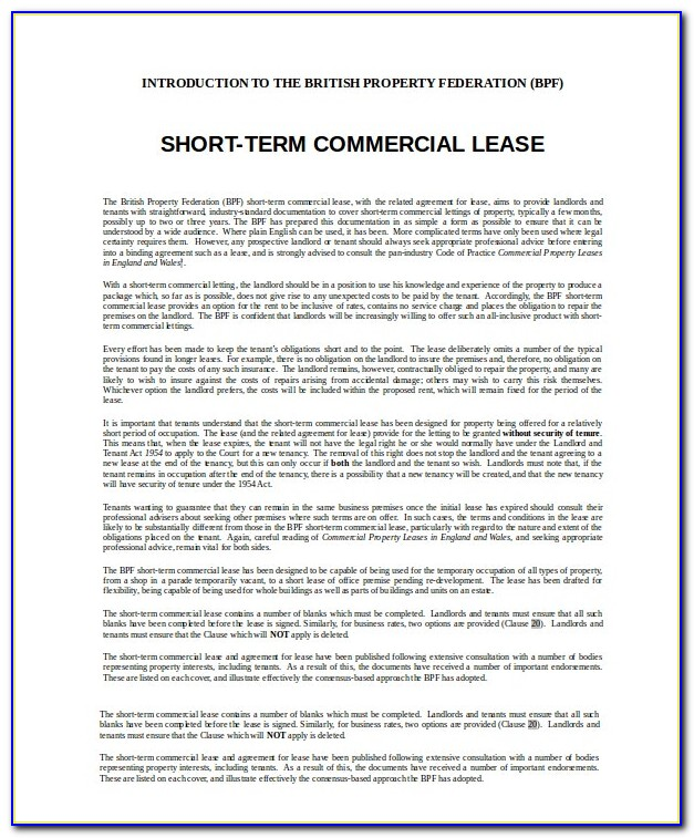 Free Commercial Lease Agreement Form Florida