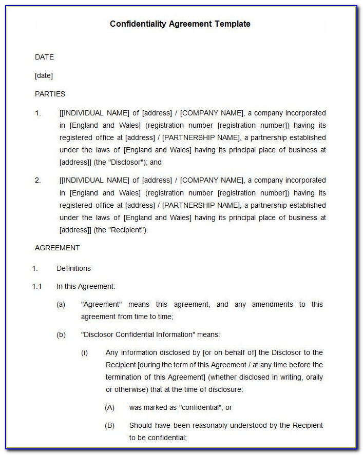 Free Confidentiality Agreement Template South Africa