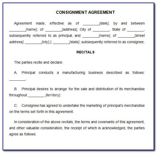 Free Consignment Contract Forms