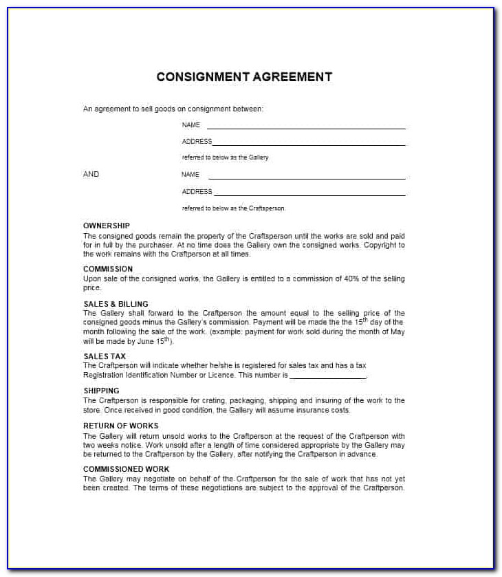 Free Consignment Contract Template