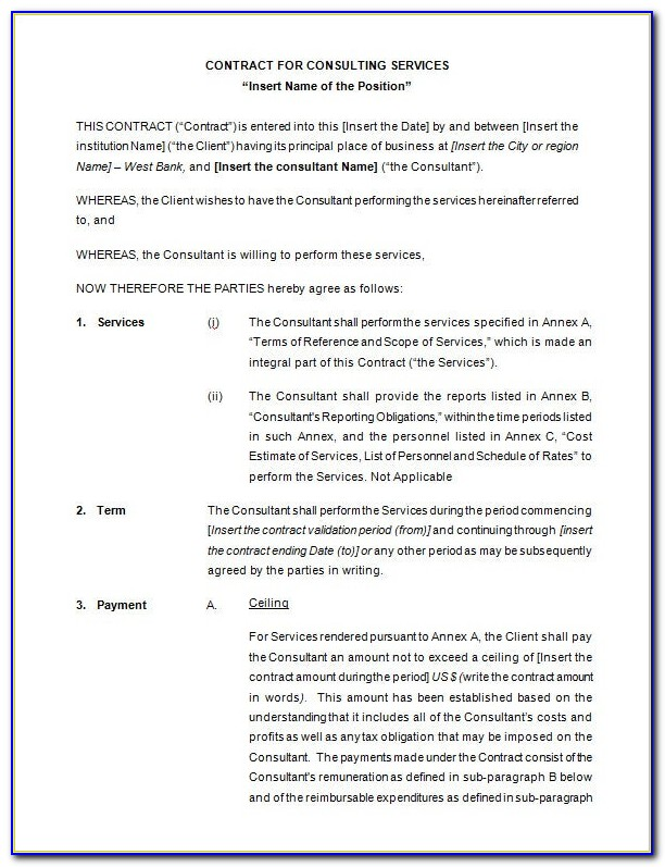 Free Consultant Agreement Contract Template