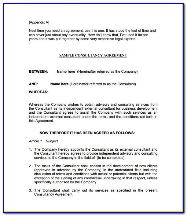 Free Consulting Services Contract Template