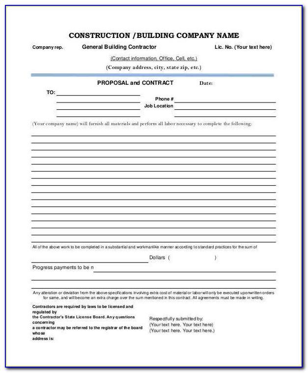 Free Contractor Estimate Forms Pdf
