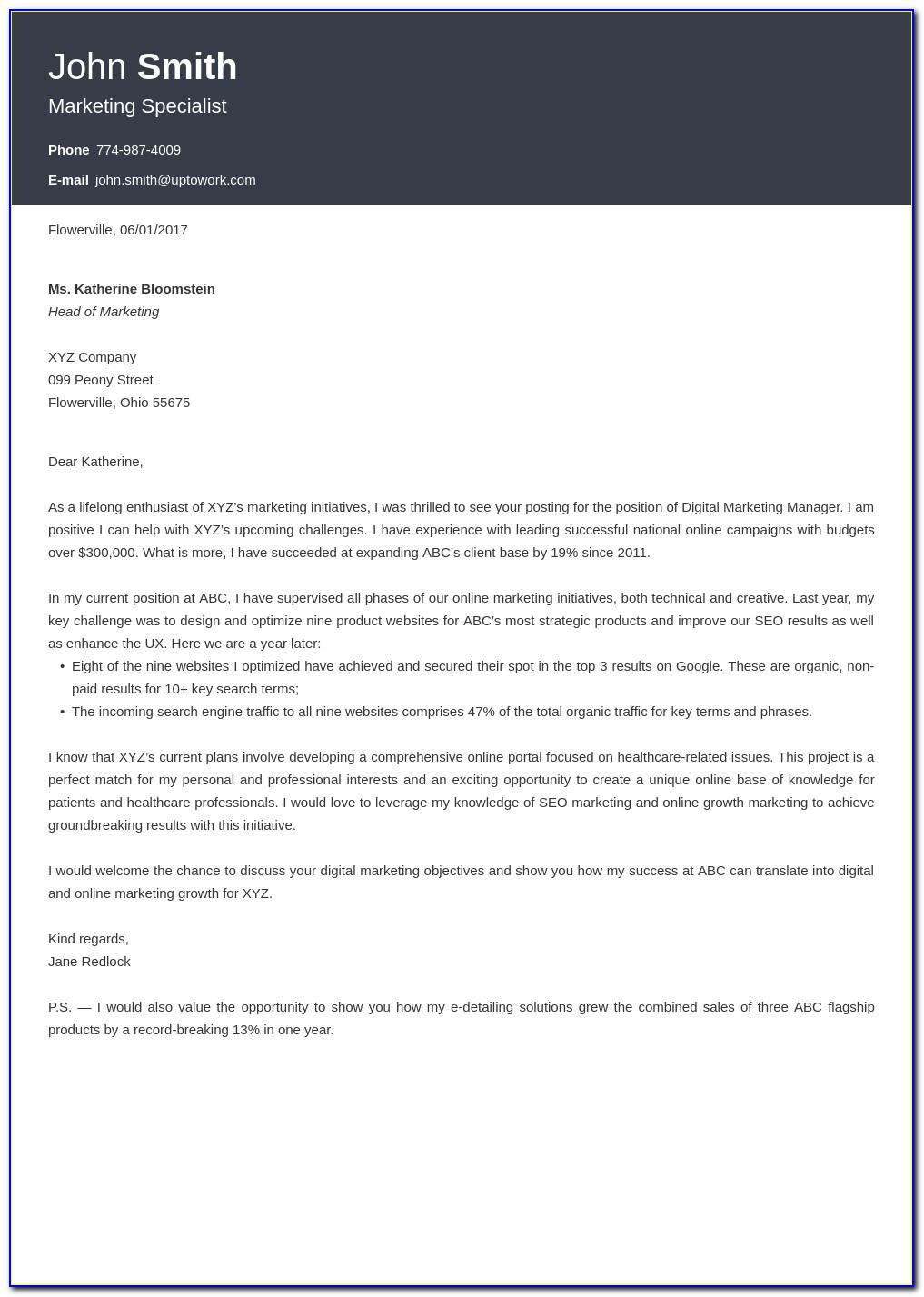 Free Cv Cover Letter Template Uk