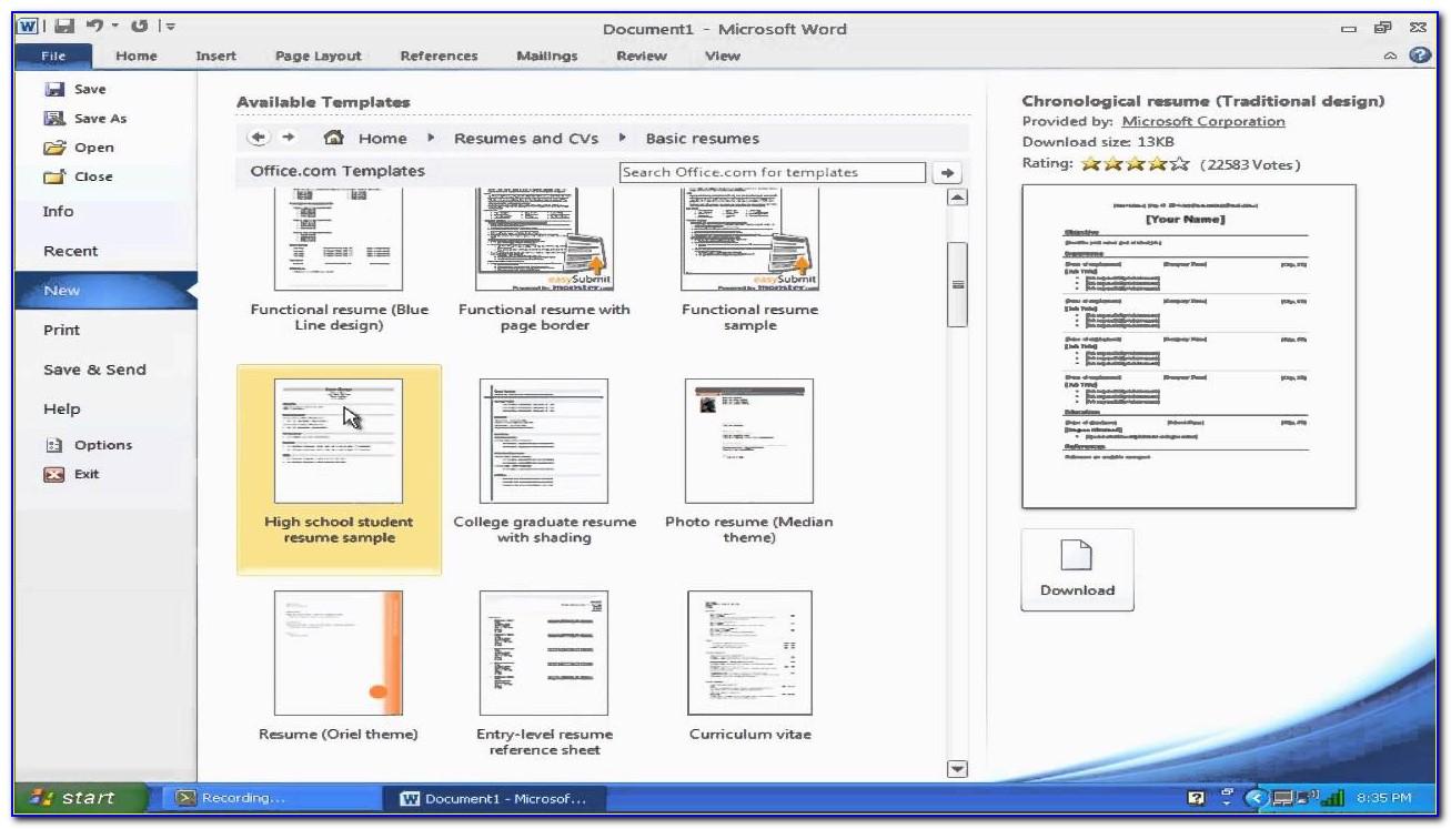 Free Cv Templates Microsoft Word 2003