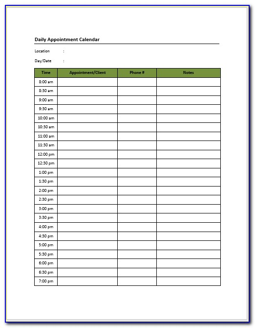 Free Daily Appointment Sheet Template