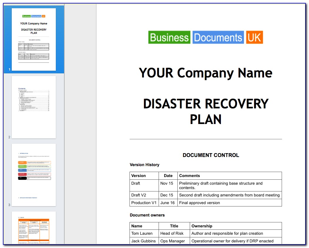 Free Disaster Recovery Plan Template Uk