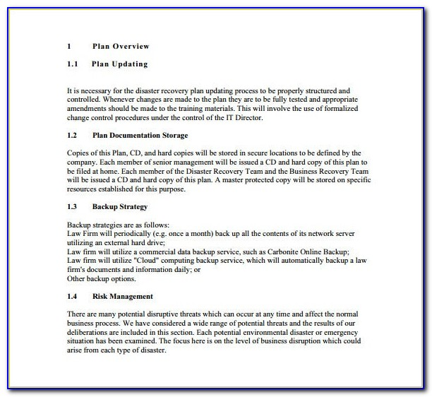 Free Disaster Recovery Test Plan Template