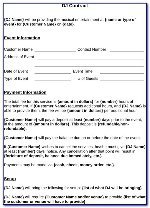 Free Dj Contract Template Doc