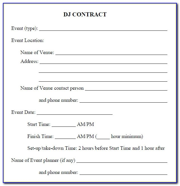 Free Dj Service Contract Template