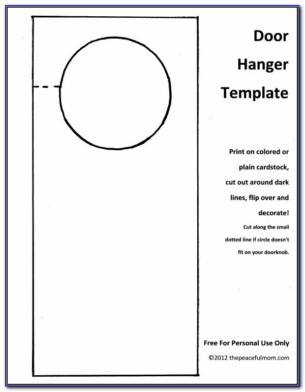 Free Door Hanger Template Word
