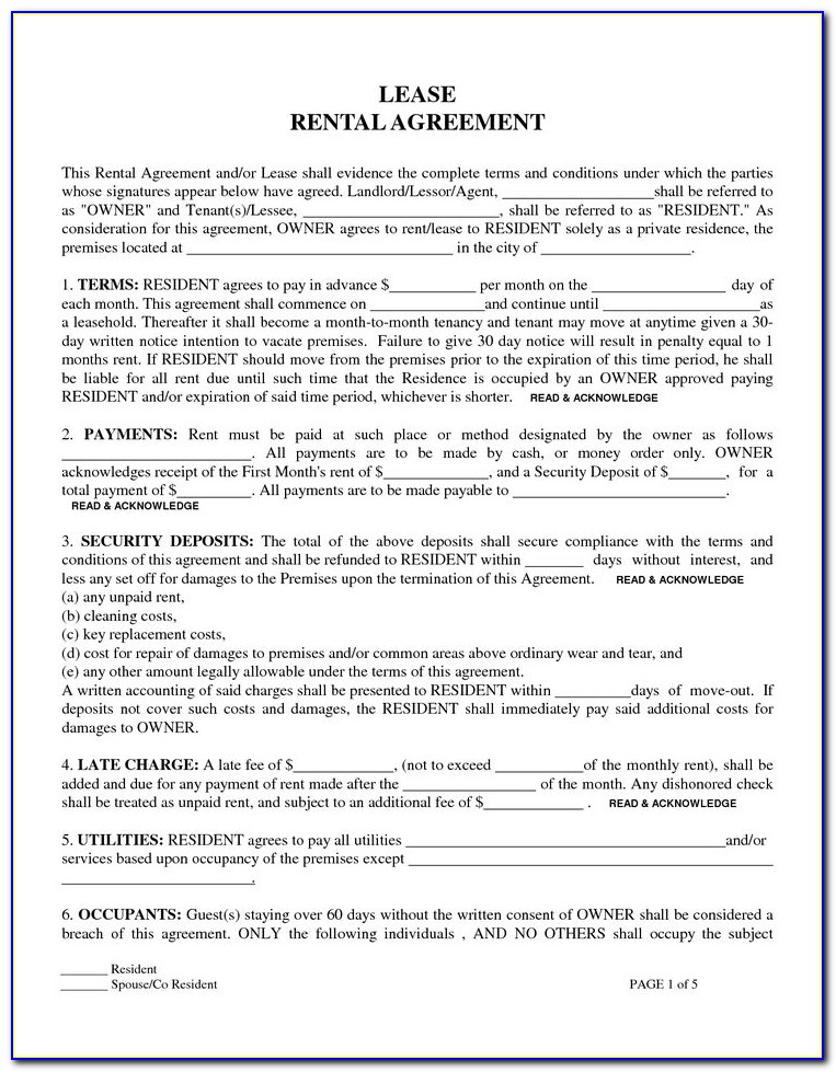 Free Downloadable Rental Agreement Forms