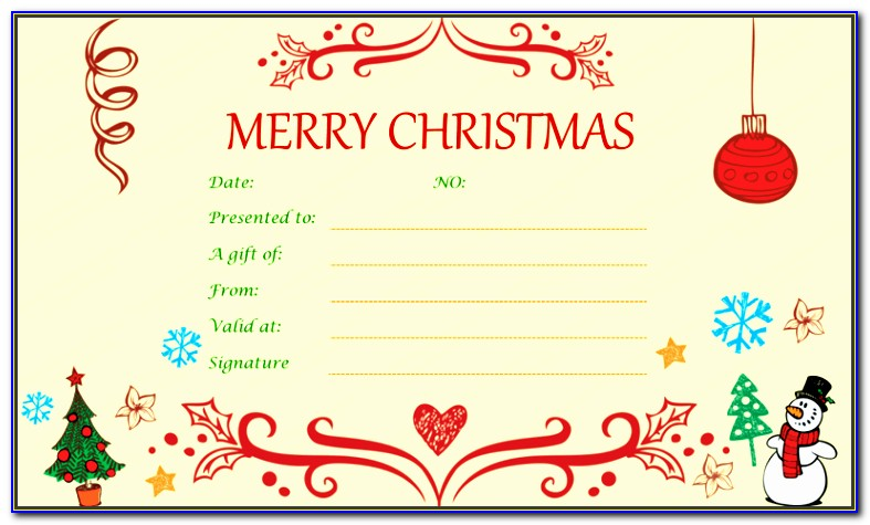 Free Editable Birthday Gift Certificate Template