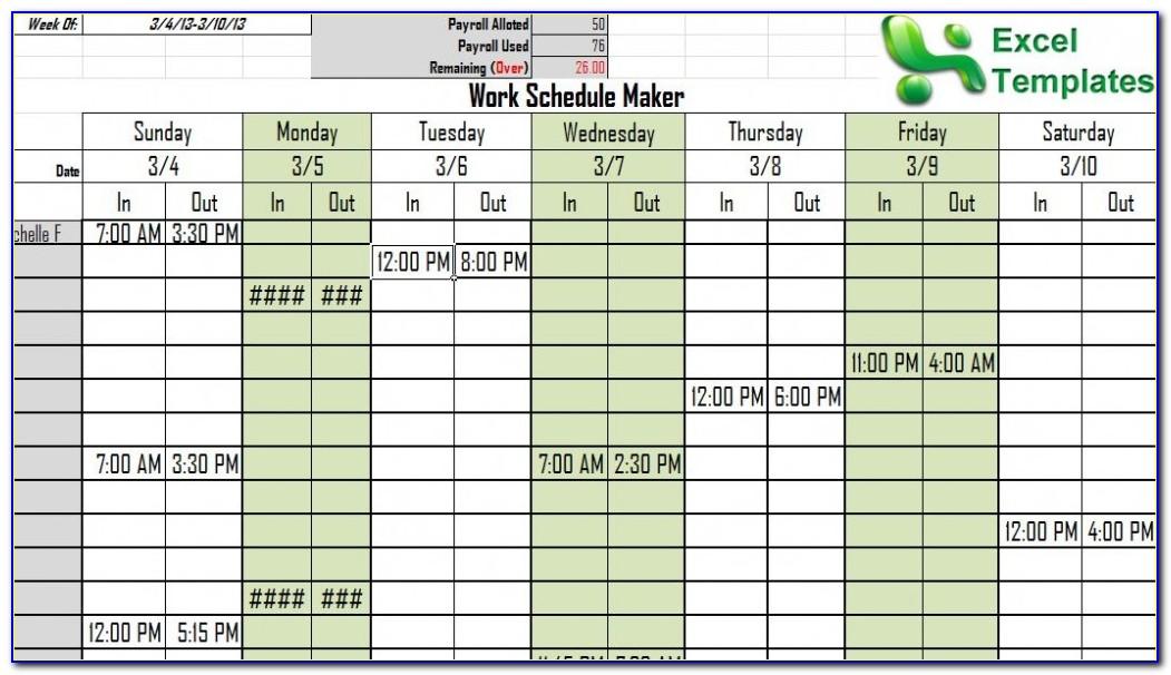 Free Employee Schedule Maker Excel Template