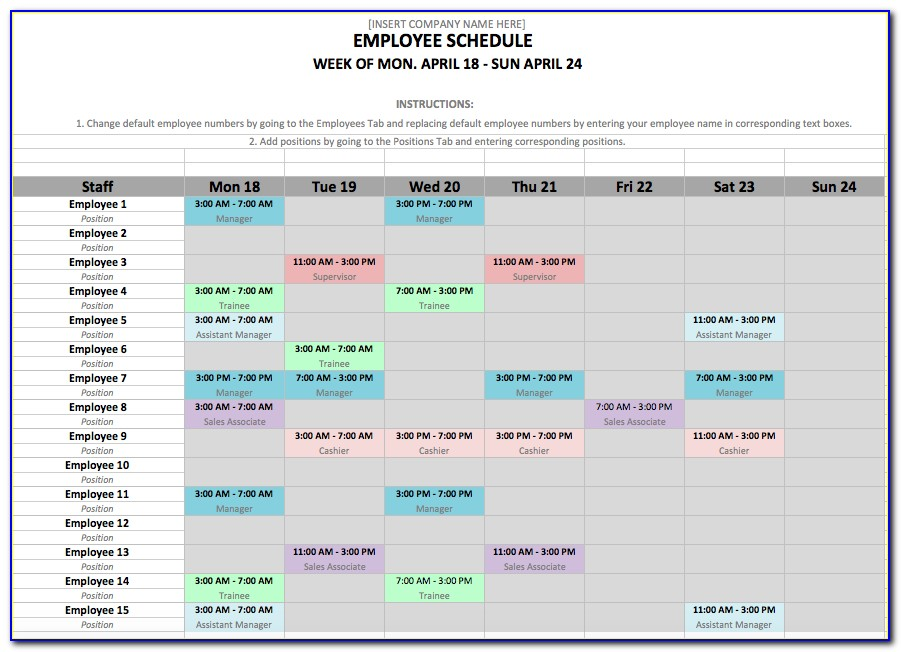 Free Employee Schedule Template For Mac