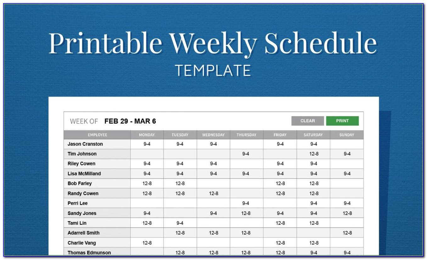 Free Employee Schedule Template Weekly
