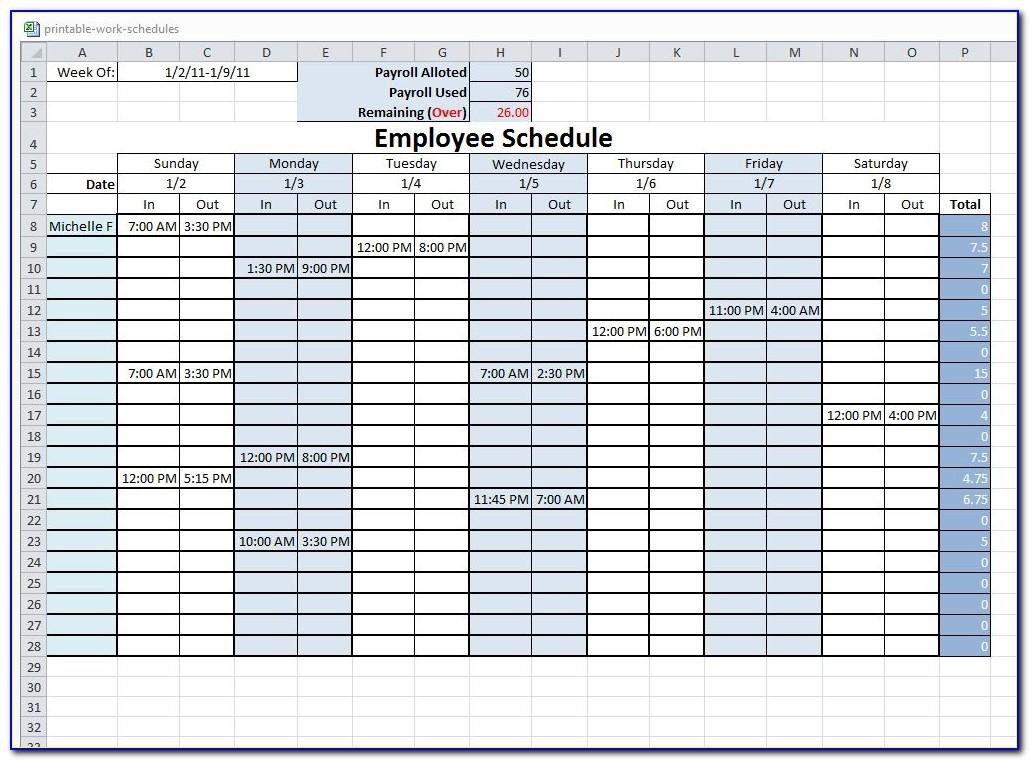 Free Employee Schedule Templates Excel