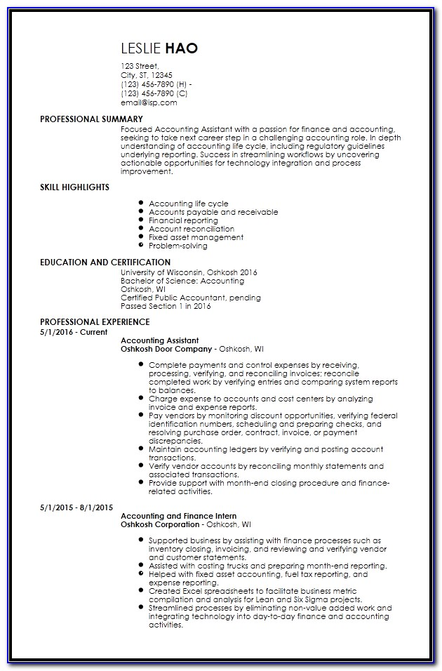 Free Entry Level Resume Samples