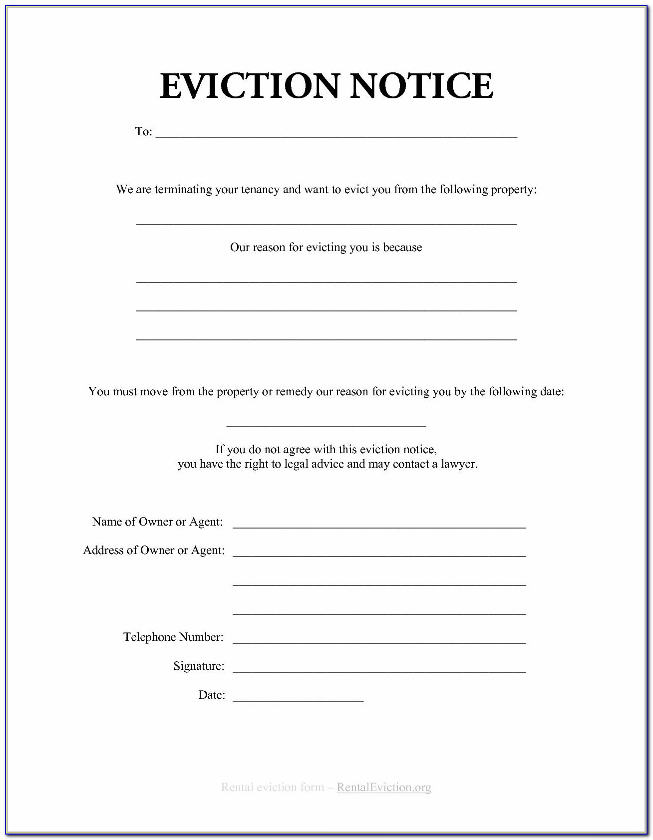 Free Eviction Notice Template Nc