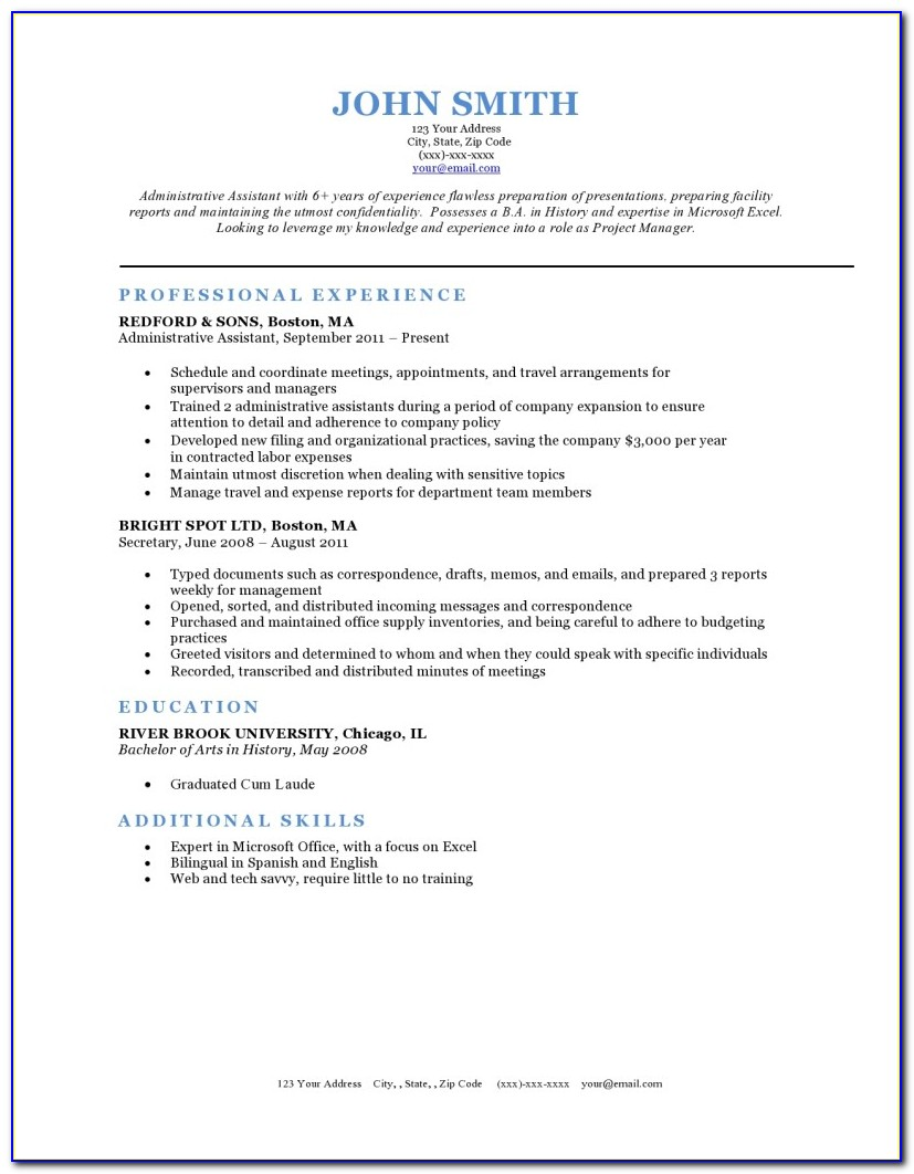 Free Executive Resume Samples 2018