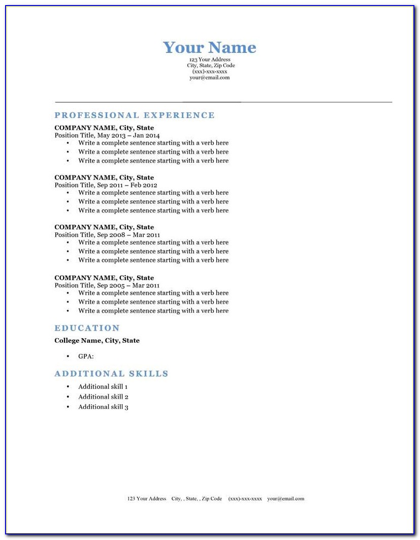 Free Executive Resume Templates 2015