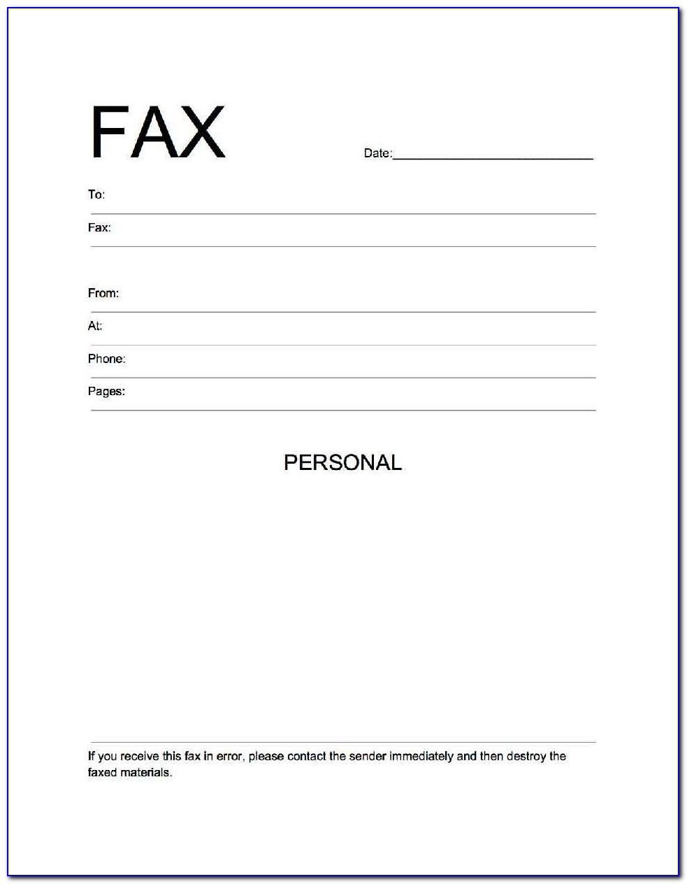 Free Fax Cover Sheet Template To Print