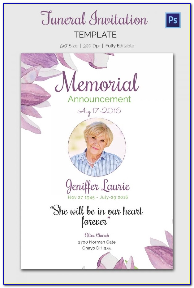 Free Funeral Announcement Sample