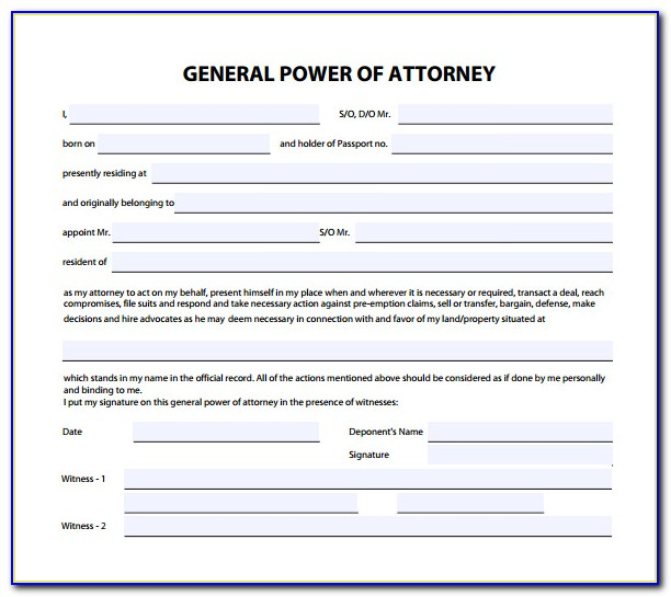 Free General Power Of Attorney Form Florida