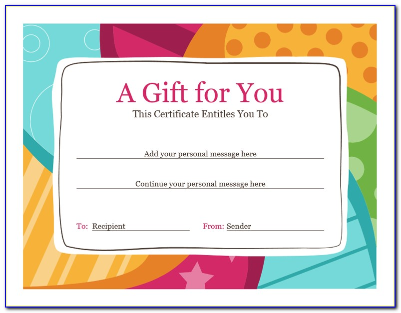 Free Gift Certificates Templates For Mac