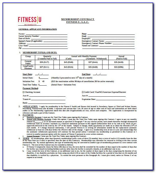 Free Gym Contract Template