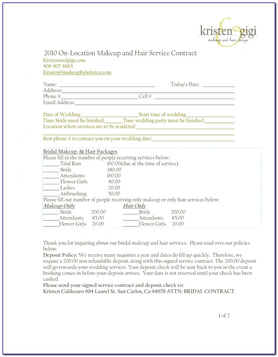 Free Hair And Makeup Contract Template