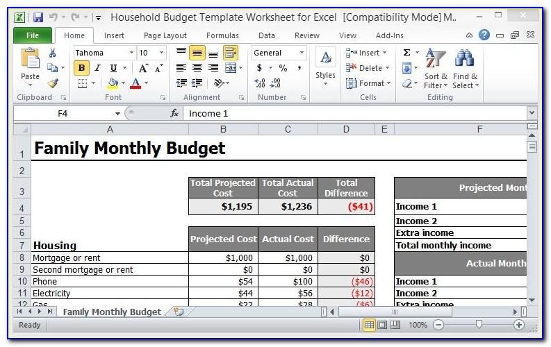Free Household Budget Template Printable