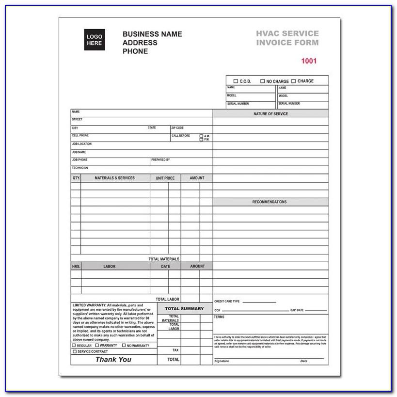 Free Hvac Invoice Forms