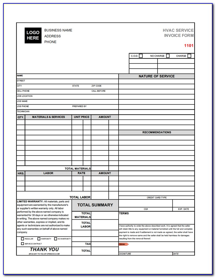 Free Hvac Service Invoice Template