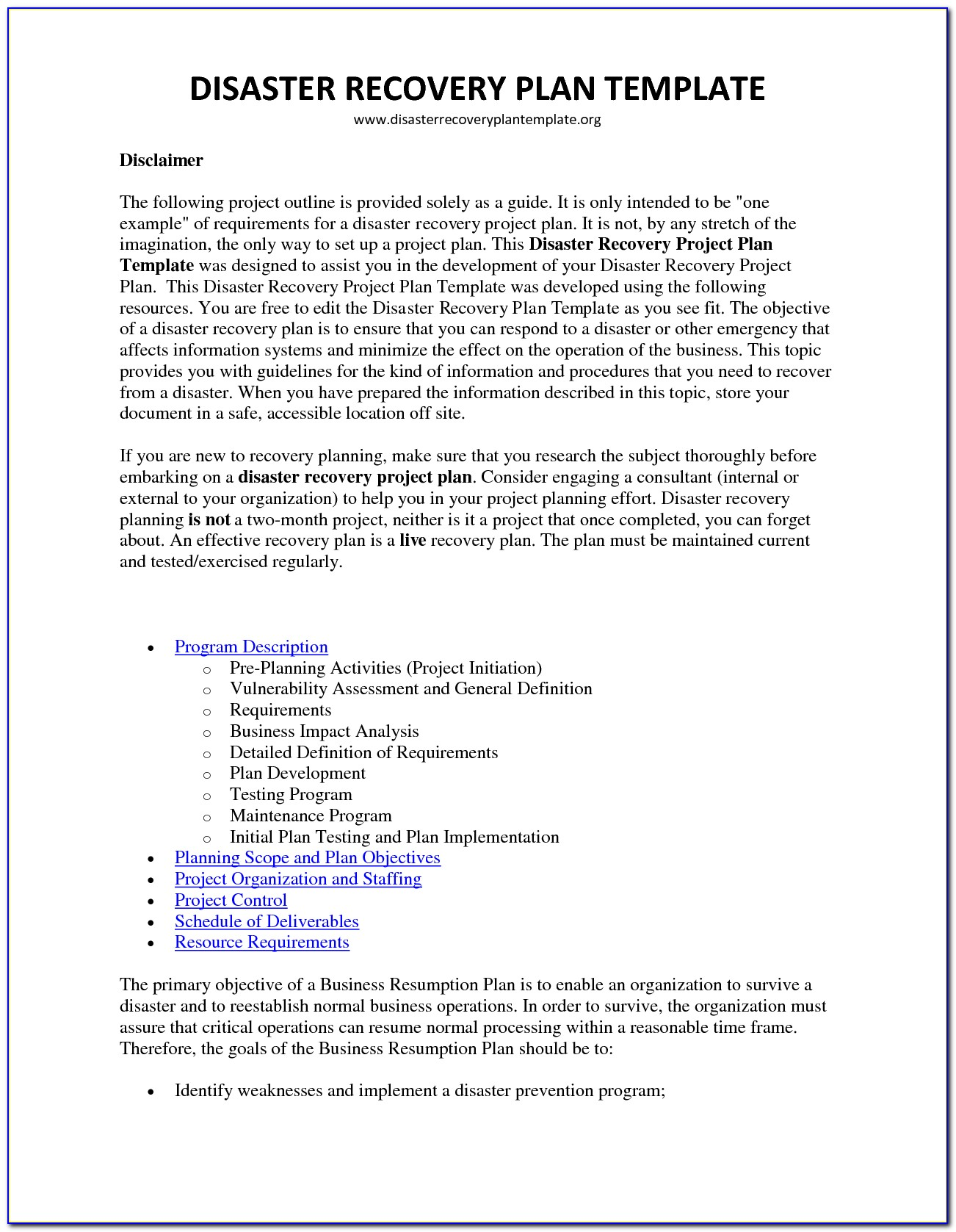 Free Information Technology Disaster Recovery Plan Template